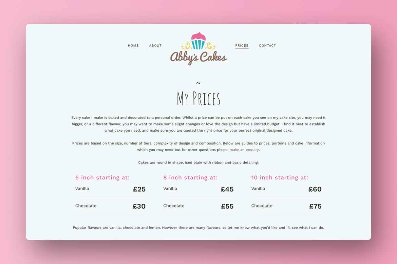 Abbys Cakes Wordpress Website Design 2