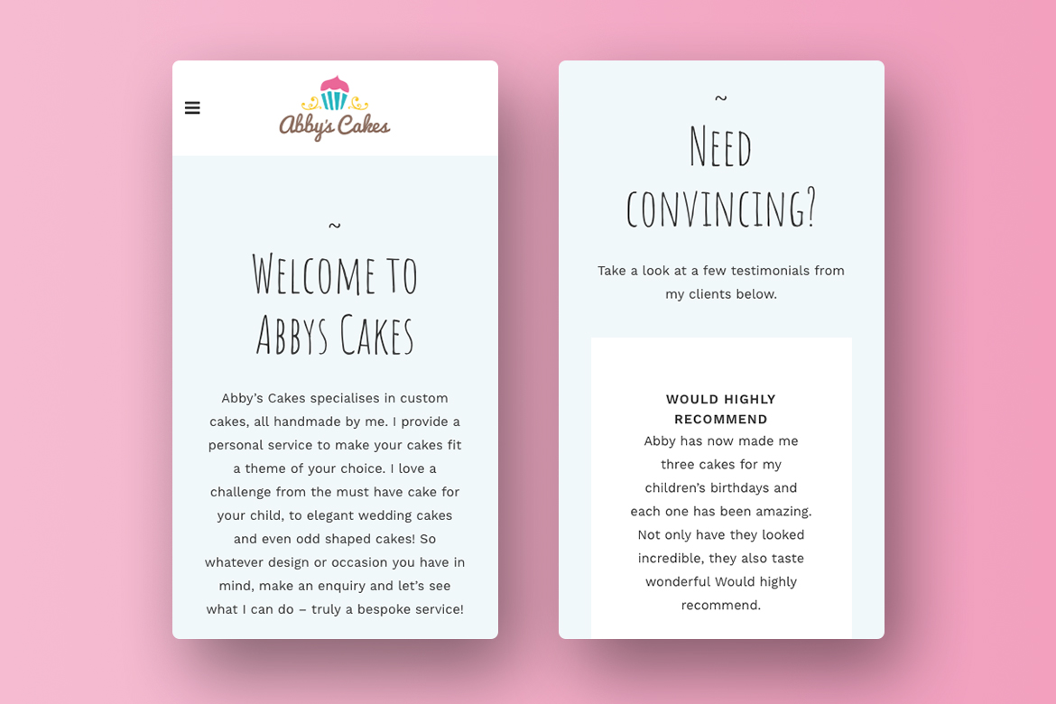 Abbys Cakes Wordpress Website Design Mobile